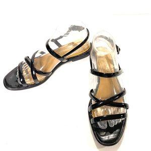 Harolds Black Strap Leather Sandals Size 8.5B